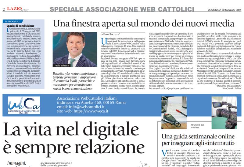 """""""La vita nel digitale è sempre relazione"""" – La pagina di WeCa su Avvenire-Lazio Sette di maggio 2021"""