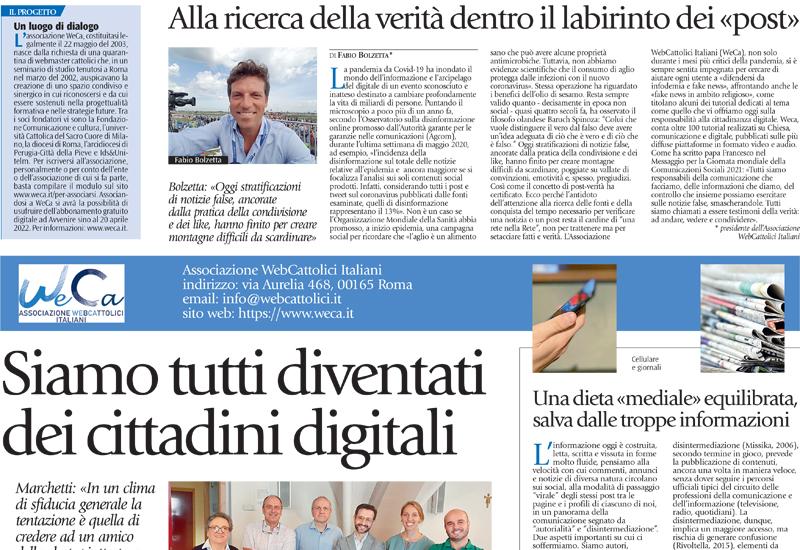"""""""Siamo tutti diventati cittadini digitali"""" – La pagina WeCa su Avvenire-Lazio Sette di domenica 27 giugno 2021"""